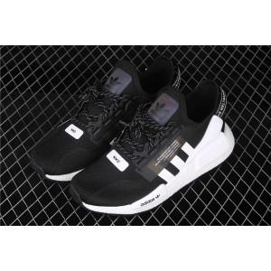 Men Adidas NMD Real Boost R1 V2 FV9021 In Black White Shoes