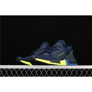 Men Adidas NMD Real Boost R1 V2 FX3948 In Blue Yellow Shoes