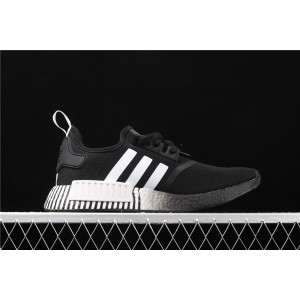 Men Adidas NMD Real Boost R1 FV3649 In Black White Shoes