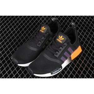 Men Adidas NMD Real Boost R1 FW0183 In Black Orange Shoes