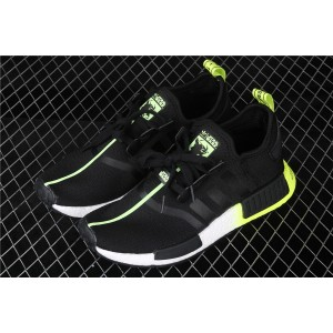 Men Adidas NMD Real Boost R1 FW2283 In Black Fluorescent Shoes