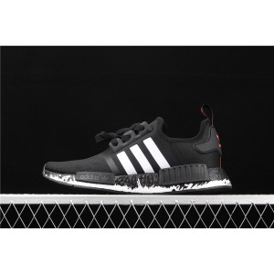 Men Adidas NMD Real Boost R1 FW7568 In Black White Shoes