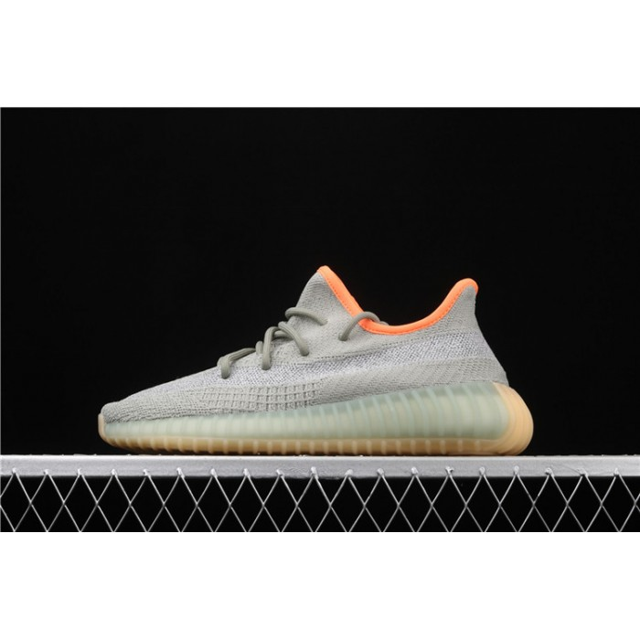 Men Adidas Yeezy Boost 350 V2 Desert Sage In Grey Orange Shoes