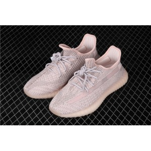 Men Adidas Yeezy Boost 350 V2 Synth In Silver Pink Shoes