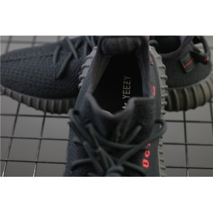 Men Adidas Yeezy Boost 350 V2 Real Basf In Black Red Logo Shoes