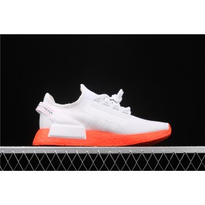 Women Adidas NMD Real Boost R1 V2 FX3902 White Orange Shoes