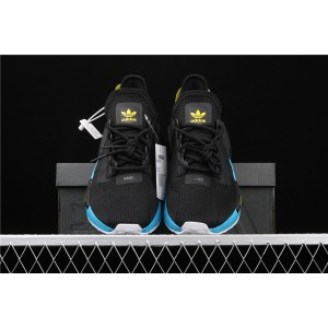 Women Adidas NMD Real Boost R1 V2 FX4147 Black Blue Shoes