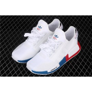 Women Adidas NMD Real Boost R1 V2 FX4148 Cream Blue Red Shoes