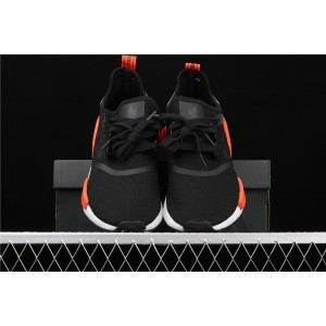 Women Adidas NMD Real Boost R1 AQ0882 Black Orange Shoes