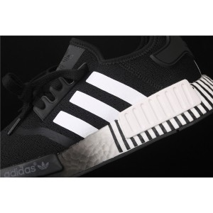 Women Adidas NMD Real Boost R1 FV3649 Black White Shoes