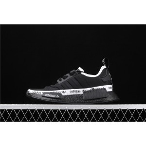 Women Adidas NMD Real Boost R1 FV7307 Black White Shoes