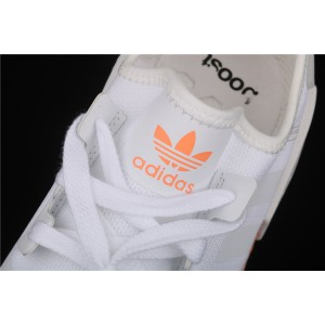 Women Adidas NMD Real Boost R1 FV7852 White Orange Shoes