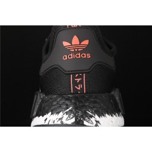 Women Adidas NMD Real Boost R1 FW7568 Black White Shoes