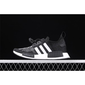 Women Adidas NMD Real Boost R1 G27331 Black White Shoes