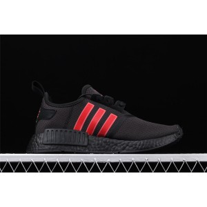 Women Adidas NMD Real Boost R1 G27576 Black Red Shoes