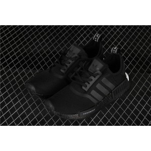 Women Adidas NMD Real Boost R1 Logo BD7754 Full Black Shoes
