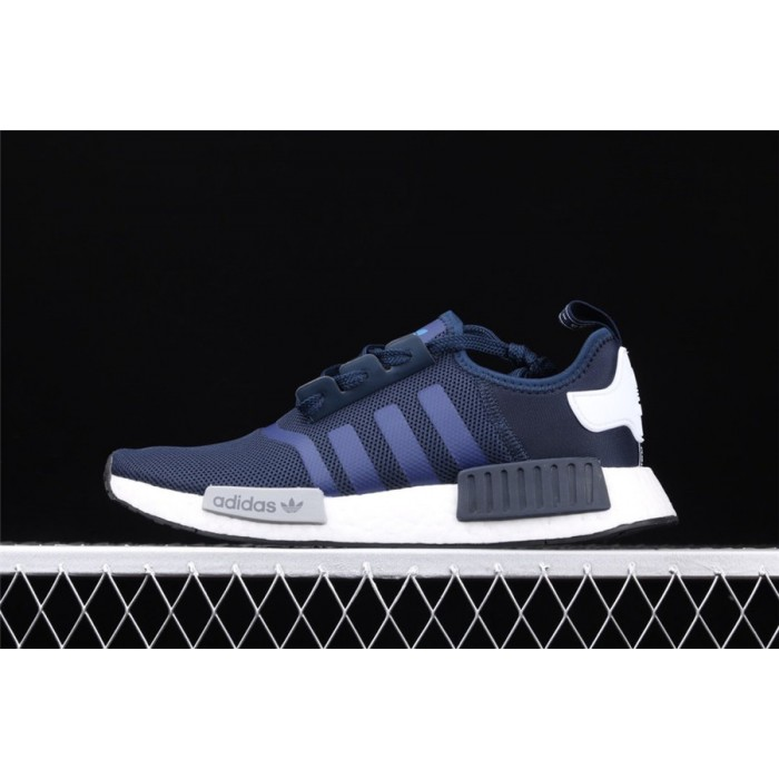Women Adidas NMD Real Boost R1 Logo S79161 Dark Blue Shoes