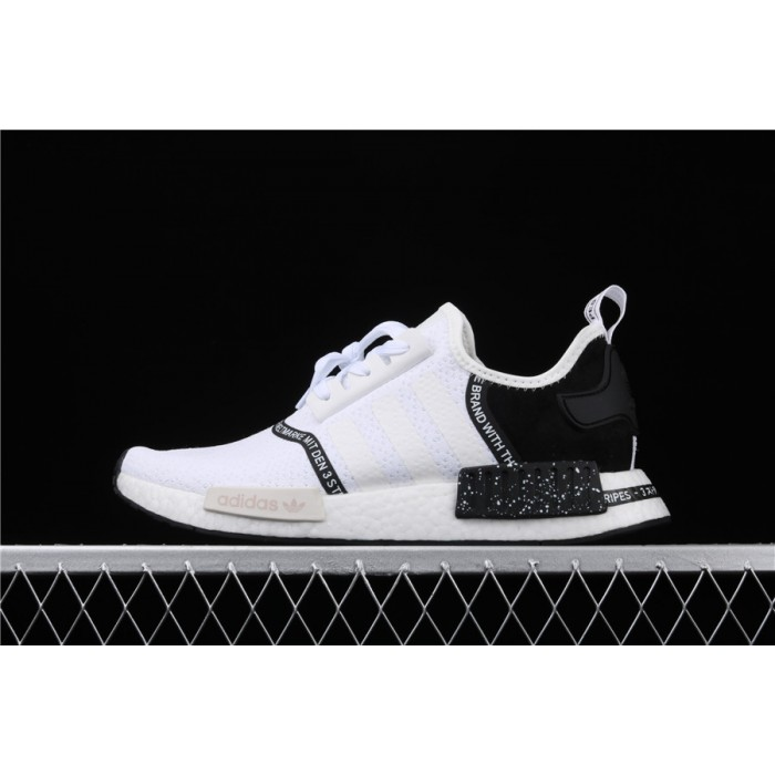Women Adidas NMD Real Boost R1 Originals Taping EF3326 White Black Shoes