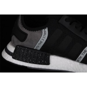 Women Adidas NMD Real Boost R1 Originals Taping F36801 Black Shoes